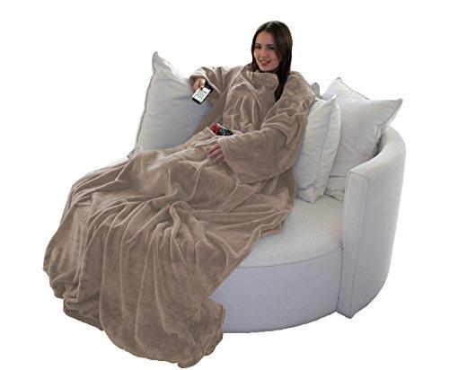 Brandsseller Flauschige TV-Decke mit Ärmeln in Cashmere Feeling - Fußsack & 2 Taschen - Kuscheldecke Tagesdecke - 170 x 200cm - Taupe/Grau