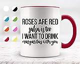 Taza de cerámica para café y té de 325 ml, diseño de rosas son rojas, salsa is Too