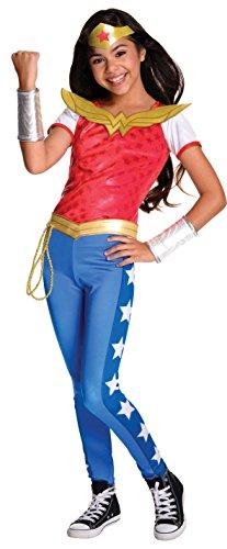 DC Comics, Disfraz de Wonder Woman Licencia Oficial para Niña, Infantil Talla 8-10 Años (Rubie's 620716-L)