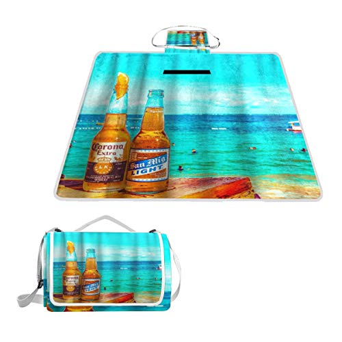 XINGAKA Picknickdecke,Bier Ozean Zitrone Thema,Outdoor Stranddecke wasserdichte sanddichte tolle Picknick Matte