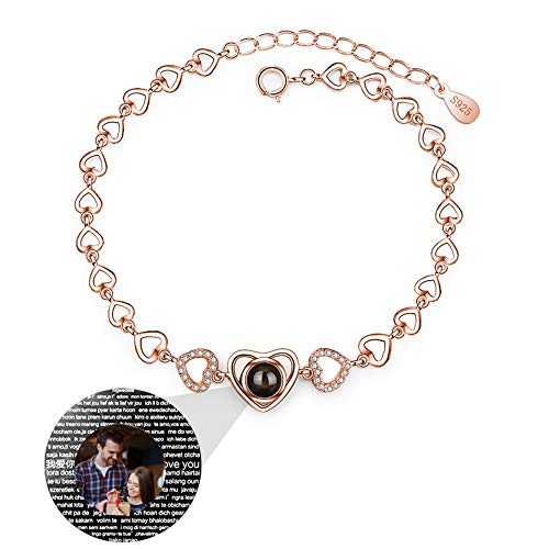 Yanday 100 Different Languages I Love You Necklace Personalized Photo Bracelet Heart to Heart Customized Bracelet Love Memory Bangle(Rose Gold Full Color)