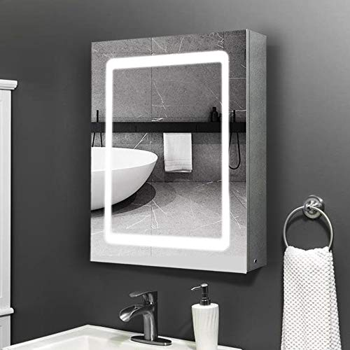 Qiyang 500 x 700 x 130 mm LED-Badezimmerspiegelschrank Edelstahl-beleuchteter Medizinschrank Wandmontierter Badezimmerschrank mit Infrarotsensorschalter Antibeschlag