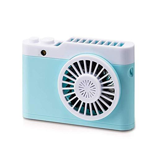 nakw88 USB Handheld Fan Ventilador de cámara Luz Nocturna Aromaterapia Luz Nocturna Cuello Portátil USB Acoplamiento Carga Viaje Lazy Essential (Color:Gris) (Color : Blue)