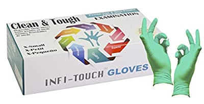 """Infi-touch, Clean and Tough Examination Gloves, Powder Free and Residue Free Nitrile Gloves, Green Gloves, 9.5"""" Length, Powder Free, 100 Count"""