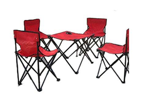 Draagbare outdoor rugzak voor tafel en stoelen, inklapbaar, 5 sets van tafel en stoelen voor picknicks, visstoelen, Kyul, schooltassen, Netto (rood) - 666-888-999