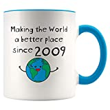 Making the World a Better Place Since 2009 Blue Color Accent White Coffee Mug - 11th Birthday Gift for Him Her - 11 Year Old Cup for Men Women - Teen Daughter Son Nephew Niece Kids