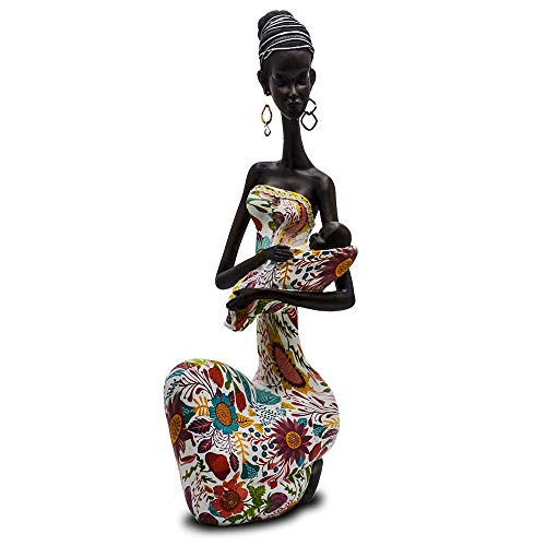 """Novelty Statue Beautiful African Figurine Sculpture Colorful Dress Holding Baby Lady Figurine Décor - Best Collectible Art Piece 15.5 """" Inches Tall - Flower Dress Tropical - Decorative Black Figurines"""