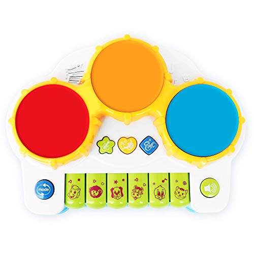 Baby Piano and Drum Toy Instruments – Kids Musical Instruments Play Set w/ 4 Play Modes – Plays Songs, Animal Sounds, Guitar, Saxophone and Trumpet Sounds – for Children 3+ Years Old