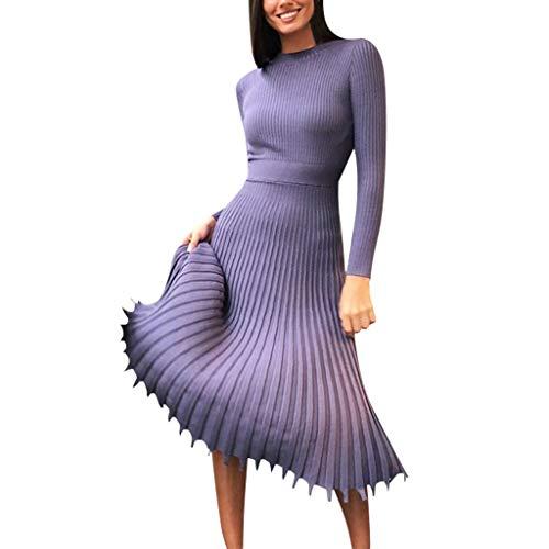 Damen Plissee Kleider Rundhals Inawayls Frauen Einfarbig Strickkleid Faltenkleid Elegant Langarm Midi Kleid