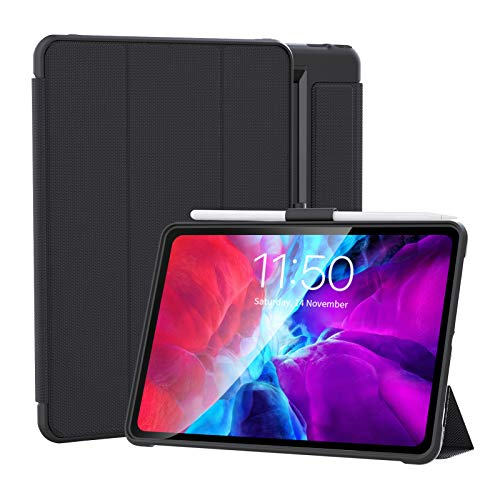LovRug case for iPad 8th generation 2020/7th generation 2019 10.2 inch case,Detachable Tri-Fold Design,Firm Shockproof Protective Case with Pencil Holder, Cover Auto Wake/Sleep(10.2/10.5 Black)