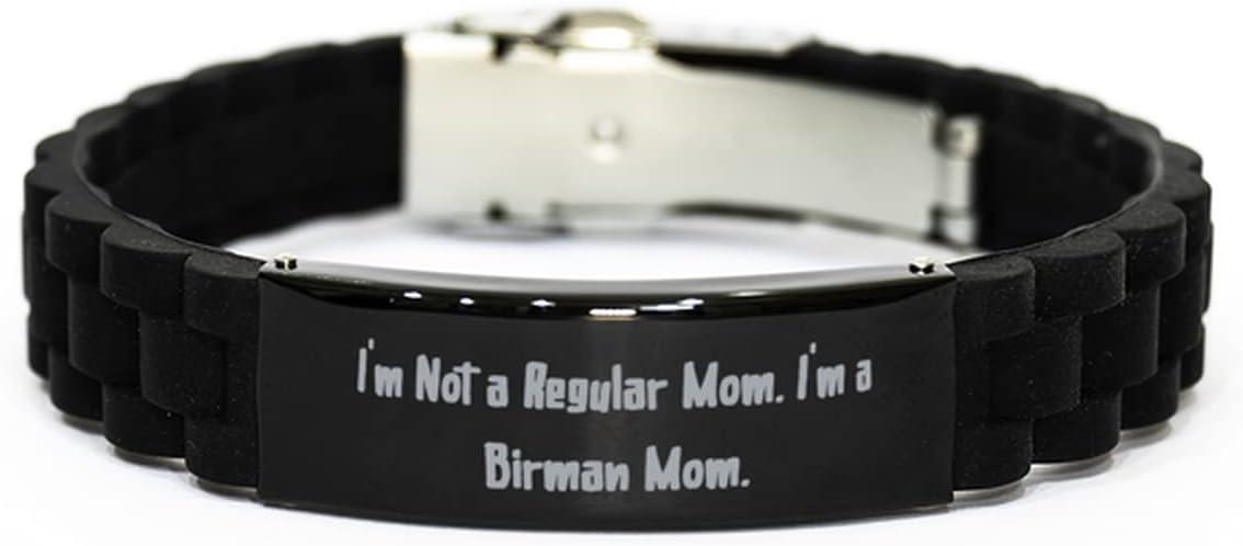 I'm Not a Regular Mom. I'm a Birman Mom. Black Glidelock Clasp Bracelet, Birman Cat Engraved Bracelet, Motivational Gifts for Birman Cat