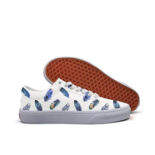Sernfinjdr Casual lace-up Canvas Shoes for Women Blue owl Feathers Best Cycling Sneaker Shoes