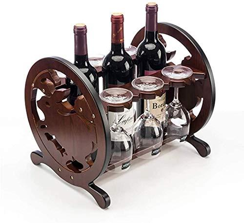 JBNJV Estante para Vino Estante para Copas de Vino Zodiac Jade Rabbit Style Gabinete de encimera de Madera Tablero de Mesa Ranuras para Almacenamiento de Botellas de Vino para 3 Botellas Able Top