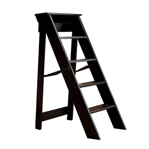 5-Steps Stool Folding Step Ladders, Space-saving Foldable Climb Stepladders Chair Ideal for Home Kitchen Office Library, Deep Walnut Color