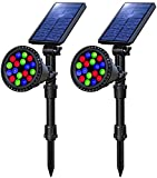 OSORD Solar Lights Outdoor, Waterproof 18 LED Multicolor Solar Landscape Spotlights Garden Decorative Lighting Color Adjustable Auto Changing Solar Landscape Lights for Pathway Yard Patio Lawn 2 Pack