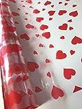 Le Petit Mitron Rouleau de cellophane Coeur Rouge pour Emballage de Cadeaux ou de Fleurs Transparent 50 m x 80 cm