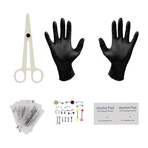 Kit de perforación del cuerpo de agujas de perforación de nariz, herramienta de agujas de perforación del cuerpo para la lengüeta del ombligo Lengua Ceja...