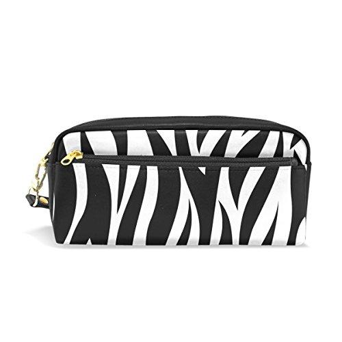 Trousse, Zebra Motif imprimé de voyage maquillage trousse Grande capacité étanche Cuir 2 compartiments pour fille garçon Femme Homme Noir et blanc