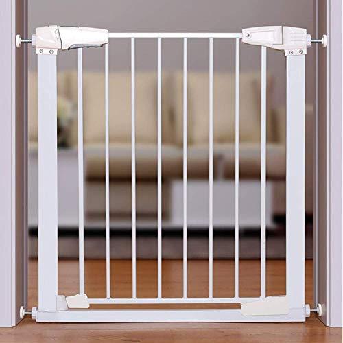 PNFP babybeschermingsrooster metalen babybeschermingsrooster voor trapdeuren, drukhouder voor hondenrooster met kleine huisdierdeur, extra breed, 77-173 cm, wit