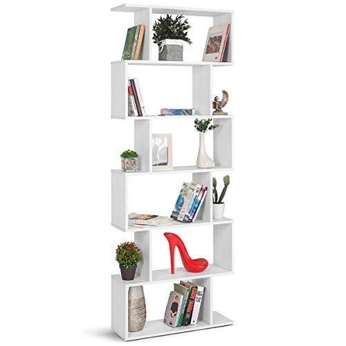 COMIFORT Estantería - Librería de Estilo Nórdico, Moderna y Minimalista, con 7 Baldas de Gran Capacidad, Robusta y Resistente, de Color Nordic