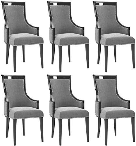 Casa Padrino Art Deco Esszimmer Stuhl Set Grau/Schwarz/Silber 50 x 50 x H. 110 cm - Edles Küchen Stühle 6er Set - Art Deco Esszimmer Möbel