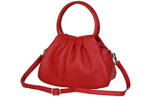 AmbraModa GLX13 - Borsa a mano borsa a spalla da donna in vera pelle (rosso)