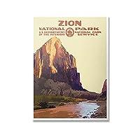 ZNNHERO国立公園の絵画ヨセミテシオン山ヴィンテージ風景写真ポスタープリントウォールアートキャンバスルーム家の装飾-50X70Cmx1フレームなし