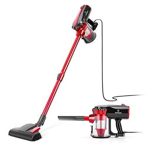 MOOSOO Aspiradora de mano con cable de 17 KPa con ventosa 2 en 1 para piso duro con 2 filtros HEPA, D600, Rojo, 23 Feet Cord