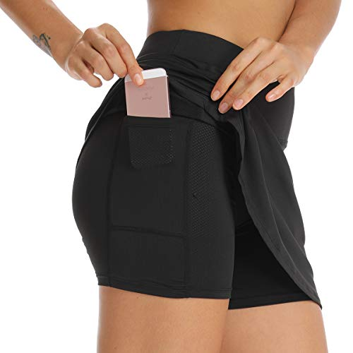 Ultrafun Women Athletic Sports Skort Stretchy Tennis Golf Skirt with Inner Shorts Pocket for Running Fitness Workout (Black, X-Small)