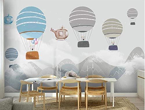 SKTYEE Moderne nordische geometrische berg wandbild wallper kontakt papier kinderzimmer 3d foto tapete heißluftballon wandbilder, 200x140 cm (78.7 by 55.1 in)