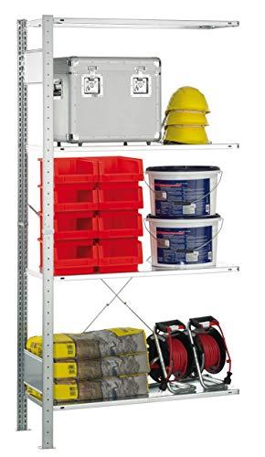SCHULTE Lagertechnik MULTIplus Fachboden-Anbauregal 1800x1000x400 mm, Steckregal mit 4 Fachböden, Traglast je Boden bis zu 120 Kg (gesamt bis zu 480 Kg)