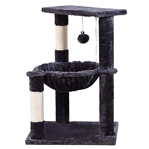 JISSBON Cat Tree Tower with Large Hammock, Plush Perch & Sisal-covered Scratching Post for Kittens, Large Cats, Grey