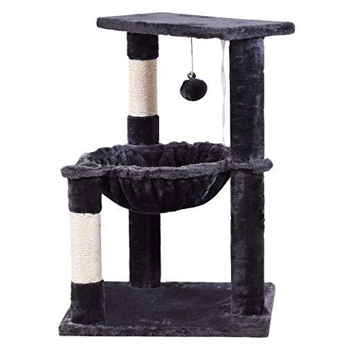 JISSBON Cat Tree Tower with Large Hammock, Plush Perch & Sisal-covered...