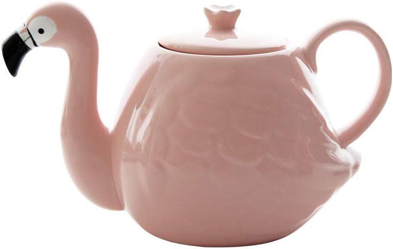 GXYGWJ rose Flamingo Théière Set Creative Céramique Tasse En Céramique Deux Tasses Un Pot Théière En Céramique théière