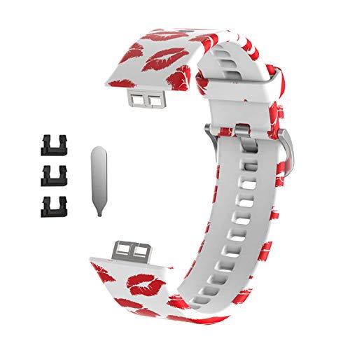 LEXIANG Impresión de Correa de Silicona para -Huawei Watch Fit Relojes Inteligentes Soft Sport Impermeable Muñequera Correa de Reloj Accesorios de Pulsera