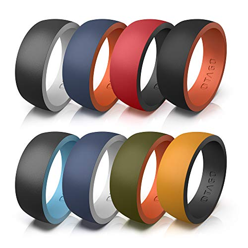 OTAGO Silicone Rings Wedding Bands for Men,8 Colorful Rings Soft and Safe for...