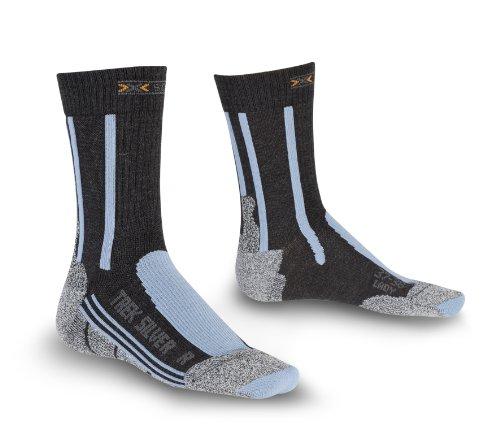 X-SOCKS Trek Silver - Chaussettes de randonnée femme Noir/Gris/Bleu (Anthracite/Azure) 37-38