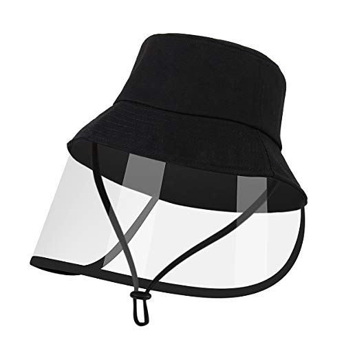 Kids Hat with Detachable Face Shield, Cute Outdoor Cap with Chin Strap for Boys Girls Reusable Washable (Black)