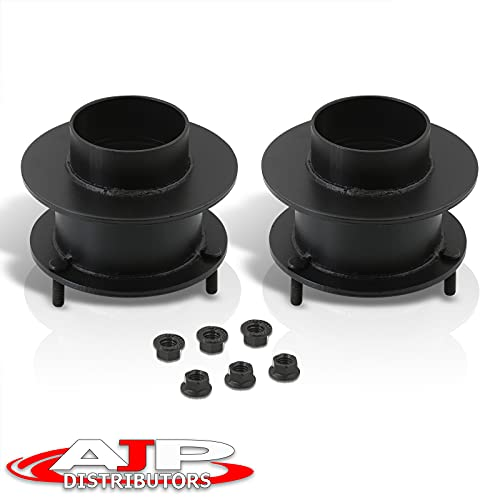 AJP Distributors 2' Front Coil Spring Spacers 2 Inch Leveling Lift Kit Pair Heavy Duty Steel Black Off Road Upgrade Compatible/Replacement For Dodge Ram 1500 Mega Cab 2500 3500 4X4 4WD Pickup Truck