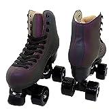 Patines de ruedas para mujer, patines de doble fila clásicos de cuero de PU, patines de ruedas para interiores y exteriores para principiantes, una bolsa de zapatos(Size:43)