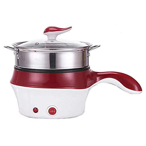 1yess Mini Multifunktions Elektrische Kochmaschine Single/Double Layer vorhanden Hot Pot Multi Electric Reiskocher Antihaftpfanne (Color : Us)
