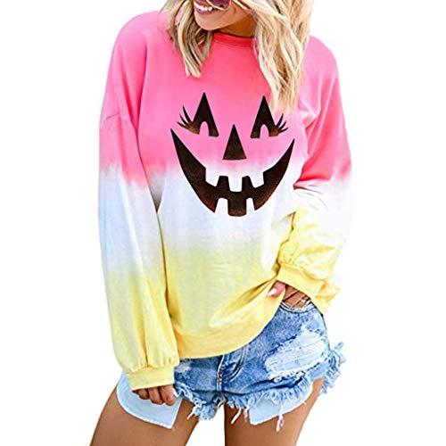 VJGOAL Halloween Damen Pullover Sweatshirt Tops Freizeit Große Größen Kürbis Smiley Gesicht Drucken Steigung Lose Lange Ärmel Bluse