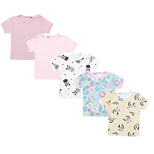 TupTam Camiseta de Bebé para Niña Manga Corta Estampado Colorido Pack de 5, Multicolor 1, 104