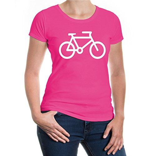 buXsbaum® Damen Kurzarm Girlie T-Shirt bedruckt Fahrrad | Bike Cycle Radsport | S fuchsia-white Rosa
