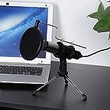logozoee Micrófono de Condensador USB, Entrada efectiva, Evita la pulverización de Aire, Micrófono de Condensador, Cómodo Plug and Play, Entrevistas Chat en línea para MSN Skype