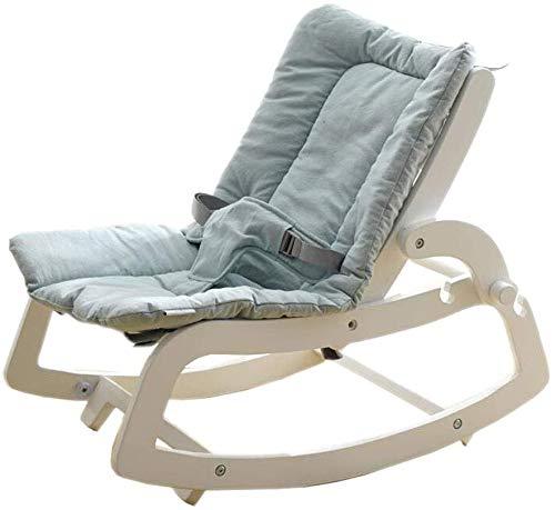 Chaise à bascule en bois massif couché paresseux moïse lit 2 de couleur apaisante,White