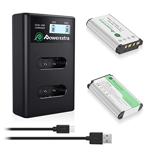 Powerextra 2 X Baterías para Sony NP-BX1 Batería con Cargador de Pantalla LCD para Sony NP-BX1/M8 y Sony Cyber-Shot DSC-RX100, DSC-RX100 II, DSC-RX100 III, DSC-RX100 V, DSC-RX100 IV, HDR-CX405