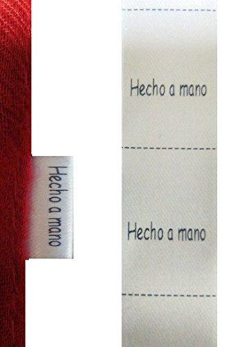 200 etiquetas textiles Hecho a mano, para coser a costura en tus manualidades - Texto en español