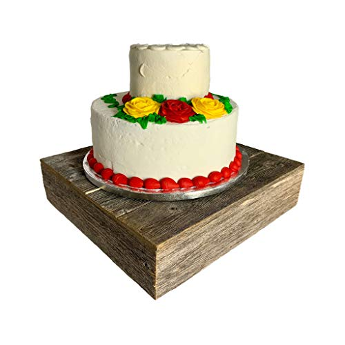 BarnwoodUSA | Wood Cake Stand | 15'x15' | Natural Weathered Gray | Rustic Wooden Wedding Dessert Display Stand | Vintage Cupcake Stand | Farmhouse Wedding | Antique | Sturdy | 100% Reclaimed Wood