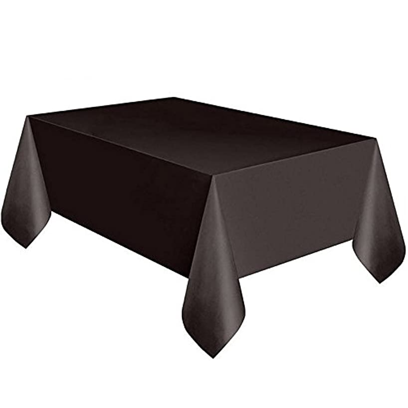 LASLU 6 Pack Premium Disposable Plastic Tablecloth 54 Inch. x 108 Inch. Rectangle Table Cover (Black)